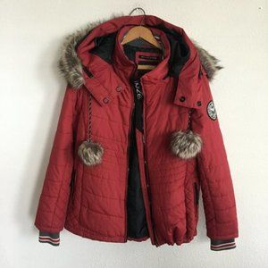 Noize Women's Red Winter Puffer Tara Jacket Sz. L